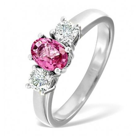 18K White Gold 0.50ct H/si Diamond & 1.00ct Pink Sapphire Ring, DCR01-PSW